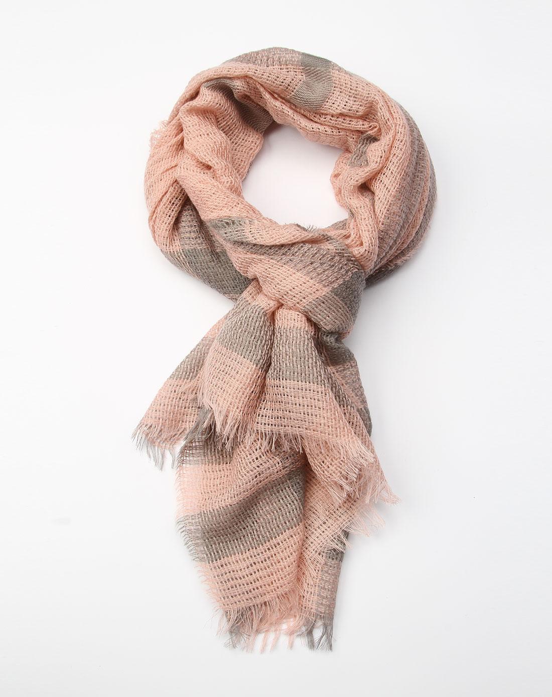 粉色针织结构时尚围巾