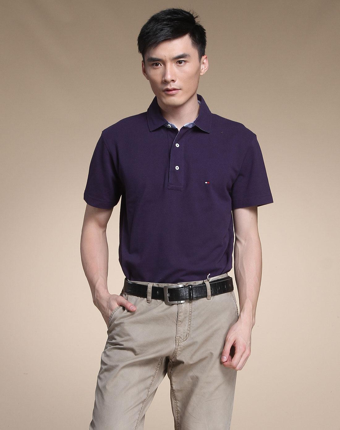 汤美费格tommy hilfiger男女装混合专场-紫色时尚商务短袖翻领t恤
