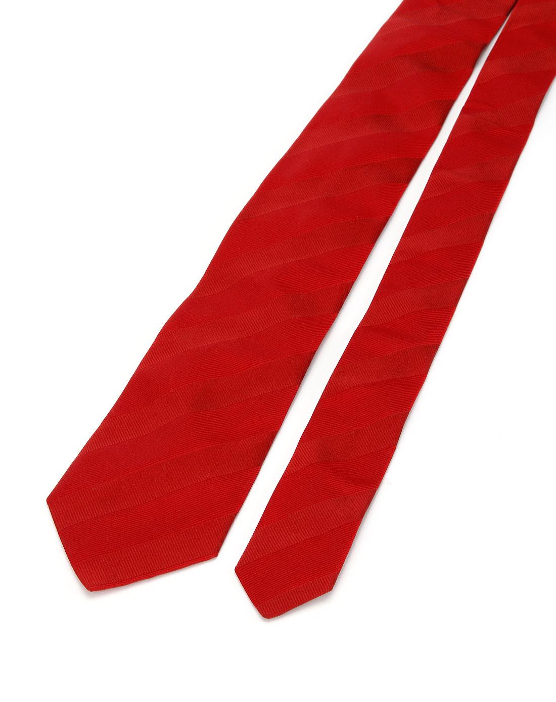 波士boss 大红色织花领带