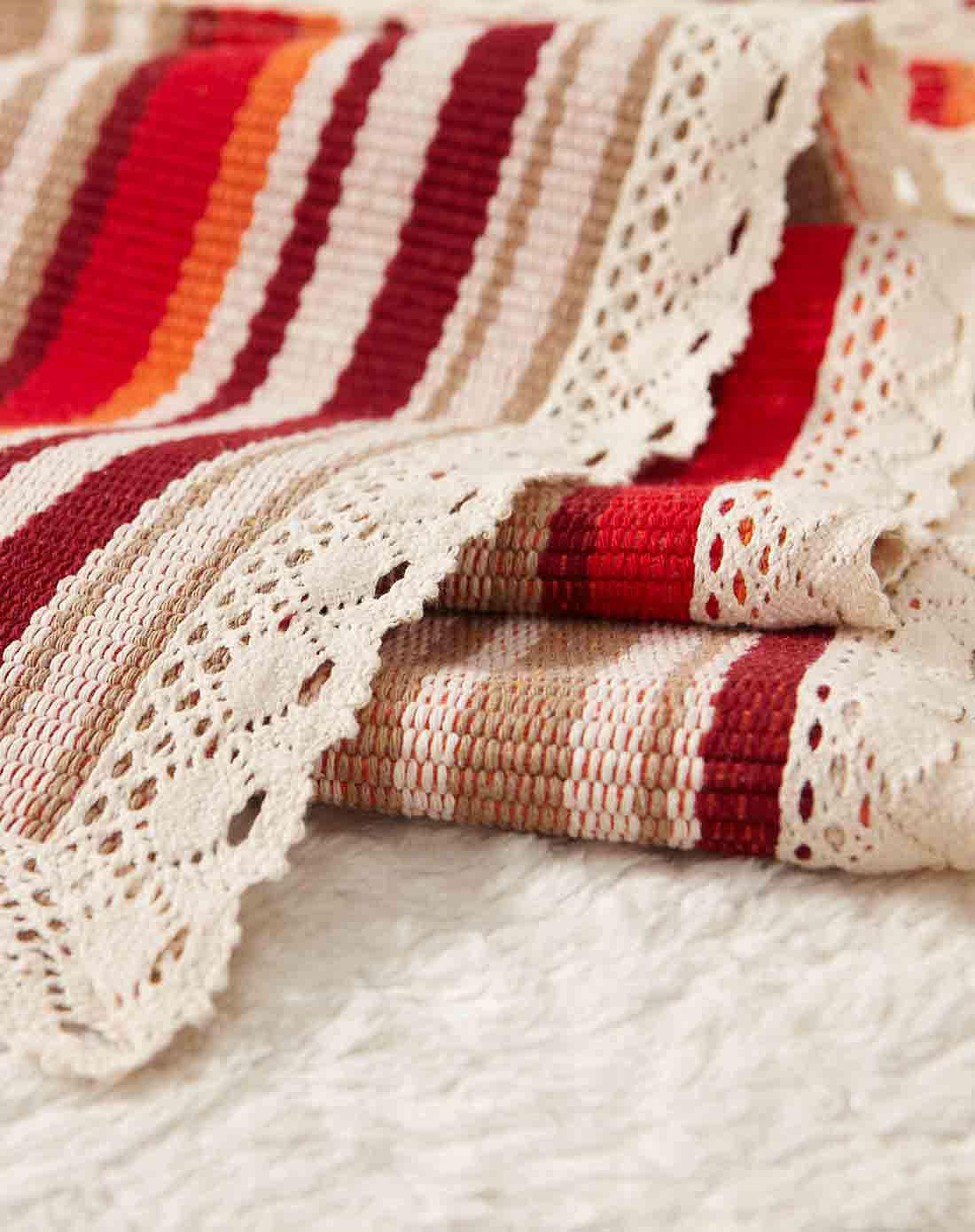 70*180cm纯手工编织棉沙发垫(彩虹色)