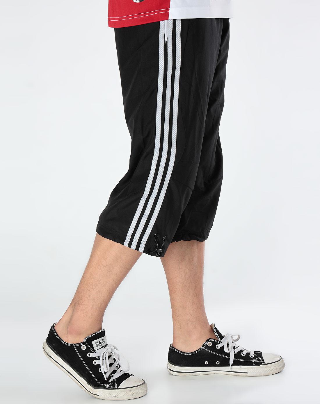 阿迪达斯adidas男款黑色运动中裤642725
