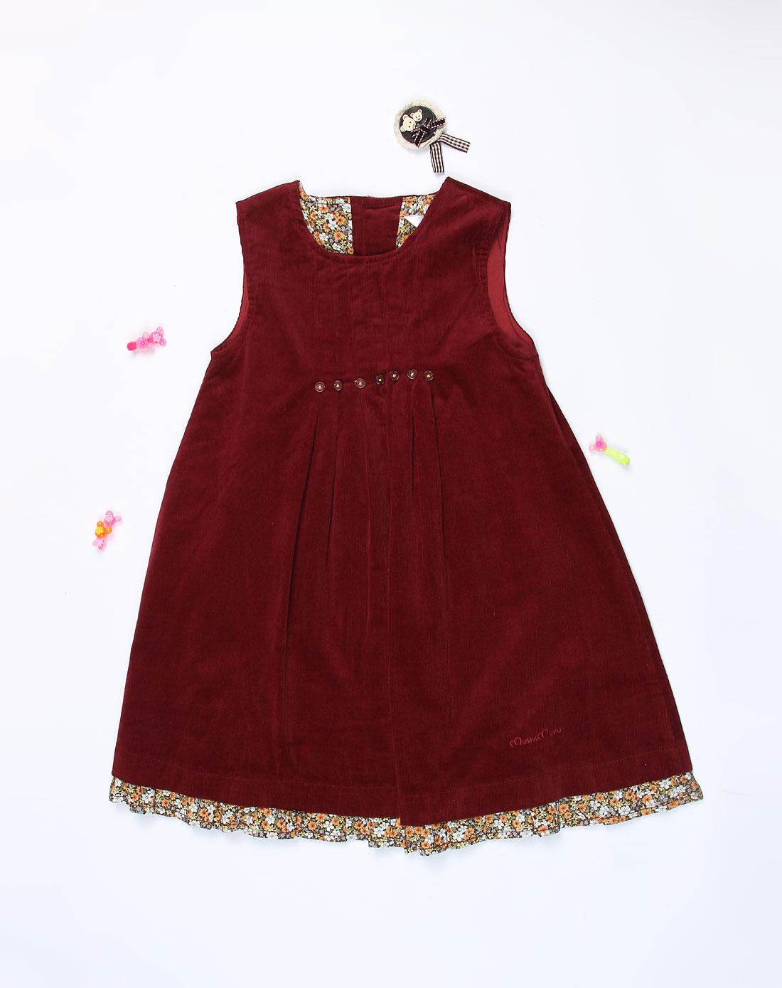 麻希玛柔moshimoro男女童混合专场-女童暗红色背心连衣裙