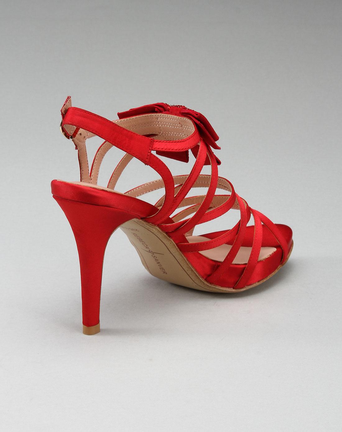 女款时尚奢华高跟凉鞋红色