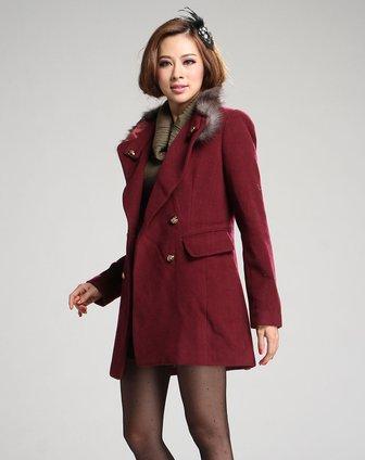 衣香丽影枣红色时尚毛领长袖大衣118804015