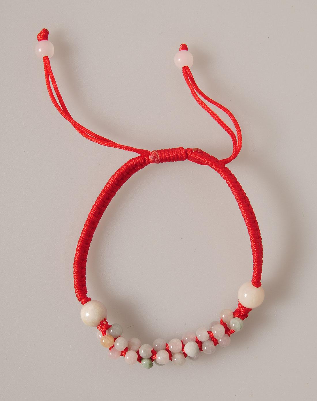 女款天然翡翠珠子红绳编织手链