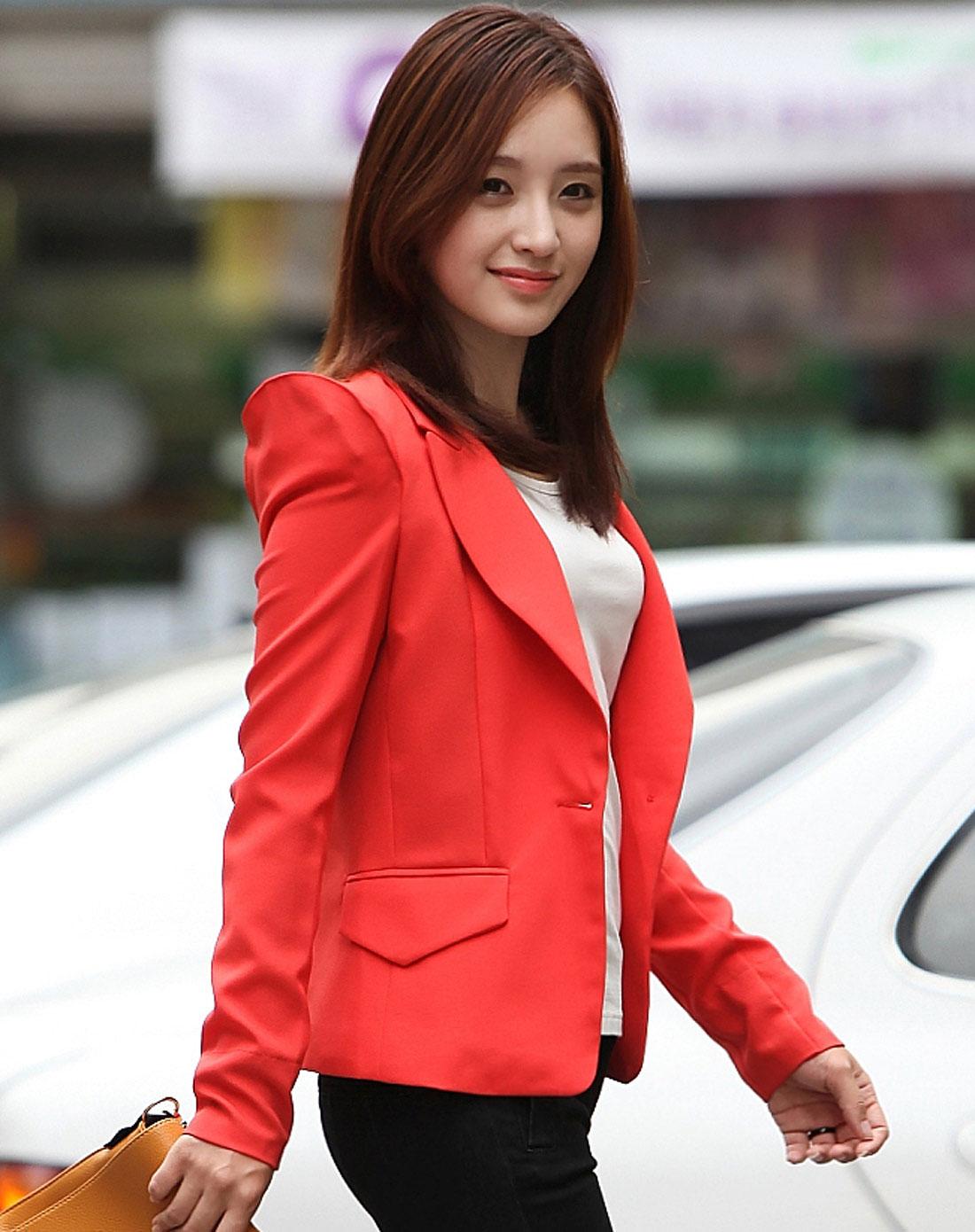 女女干_女款橘红色纯色修身小西装