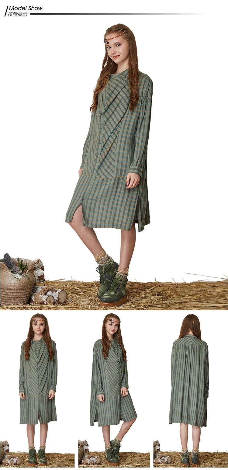 女款葱青荡领结构格子连衣裙