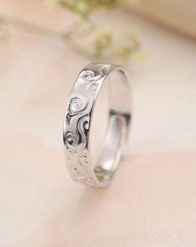 祥云雕刻纯银戒指 开口可调节