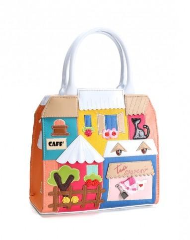 彩色手工房子立体造型手提包