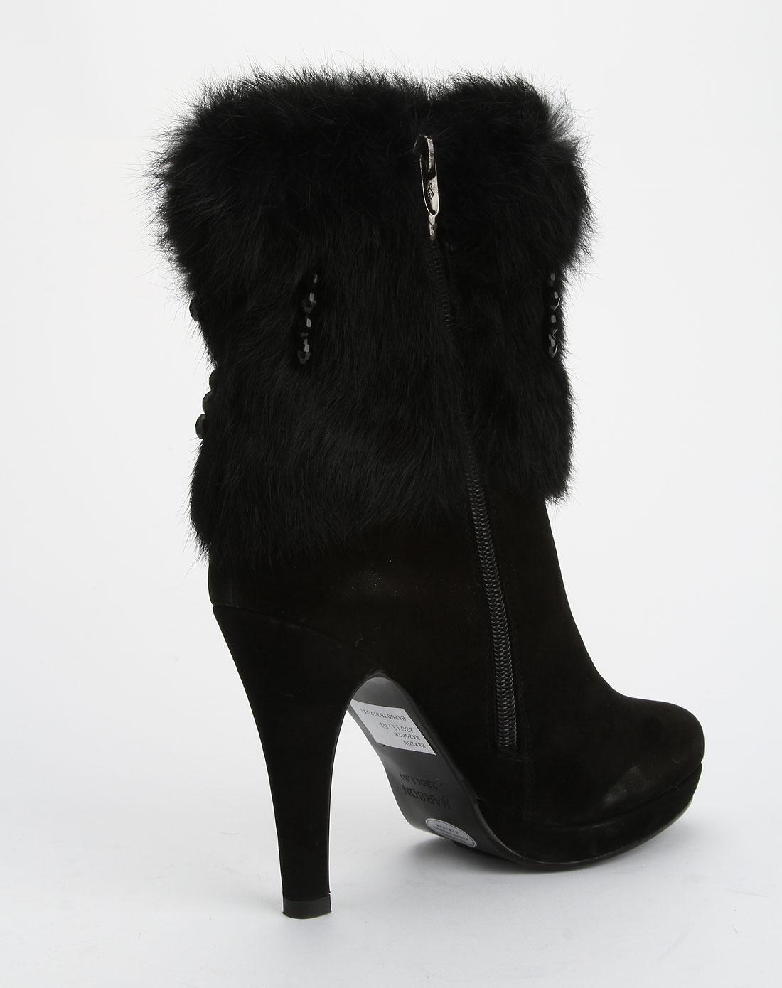 哈森harson女鞋专场-女款黑色时尚超高跟短靴图片