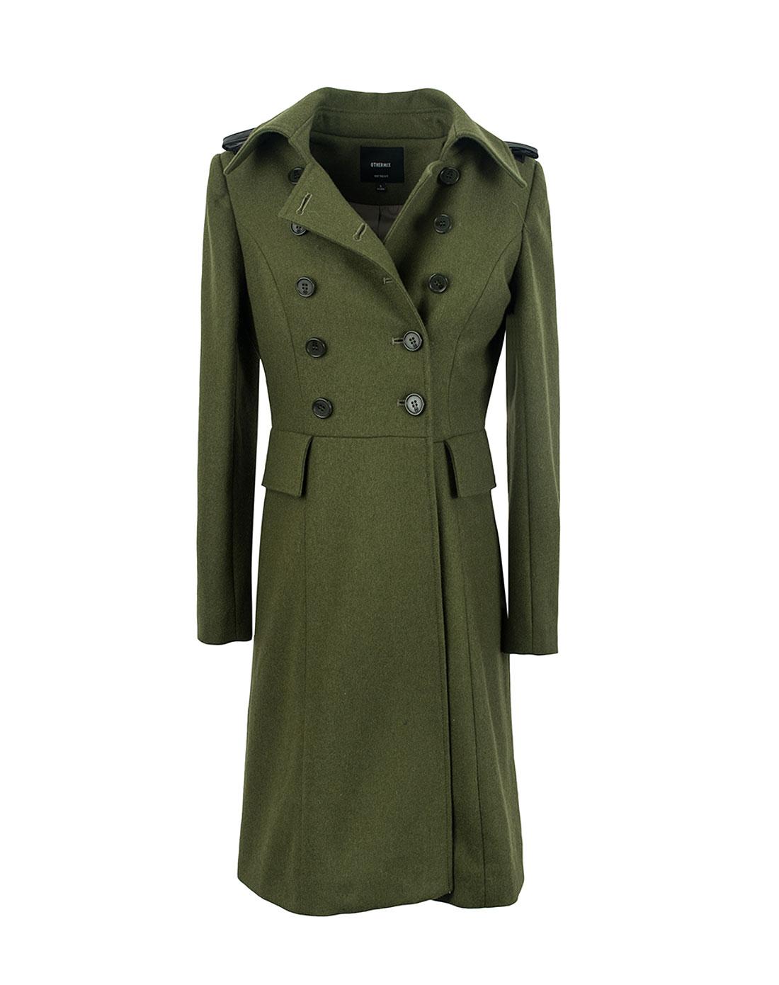 女款军绿色55%修身羊毛呢大衣外套