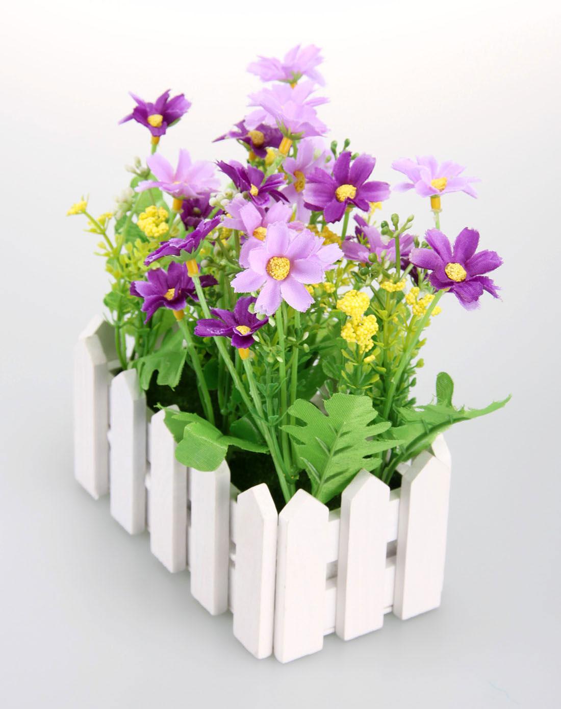 欧式紫色长款栅栏仿真装饰花花浪漫小屋