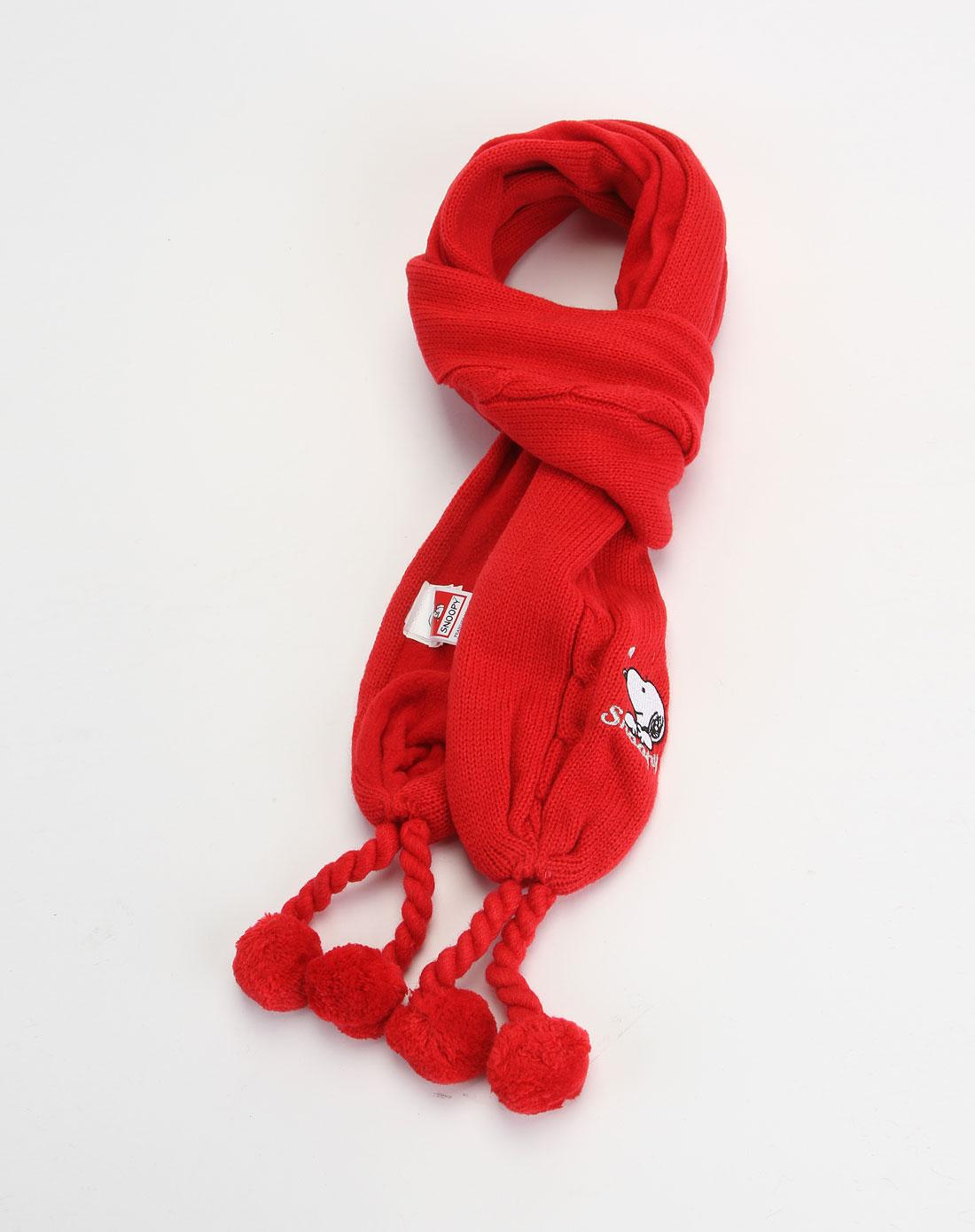 女童红色毛线编织围巾