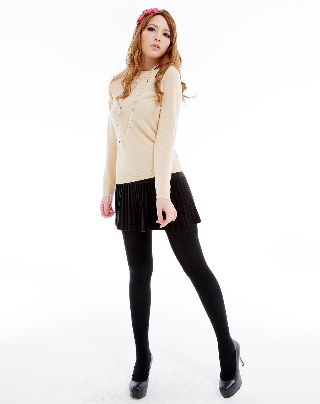 裤袜穴_女款黑色120d超柔天鹅绒加裆连脚裤袜