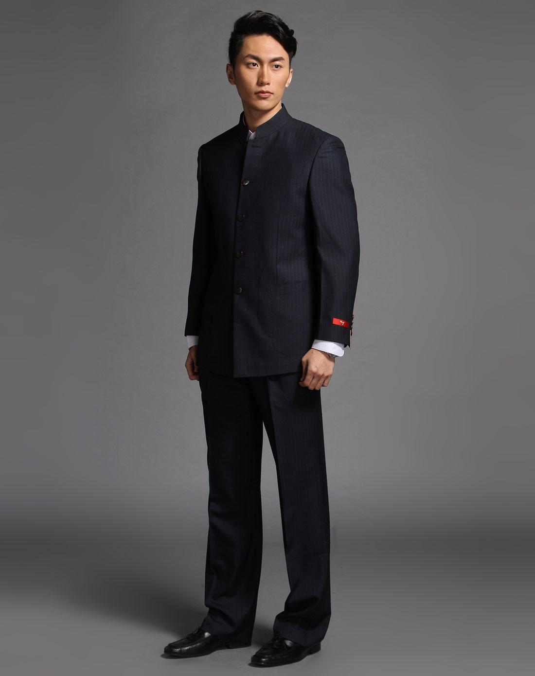 黑蓝色时尚休闲中华立领长袖套装图片