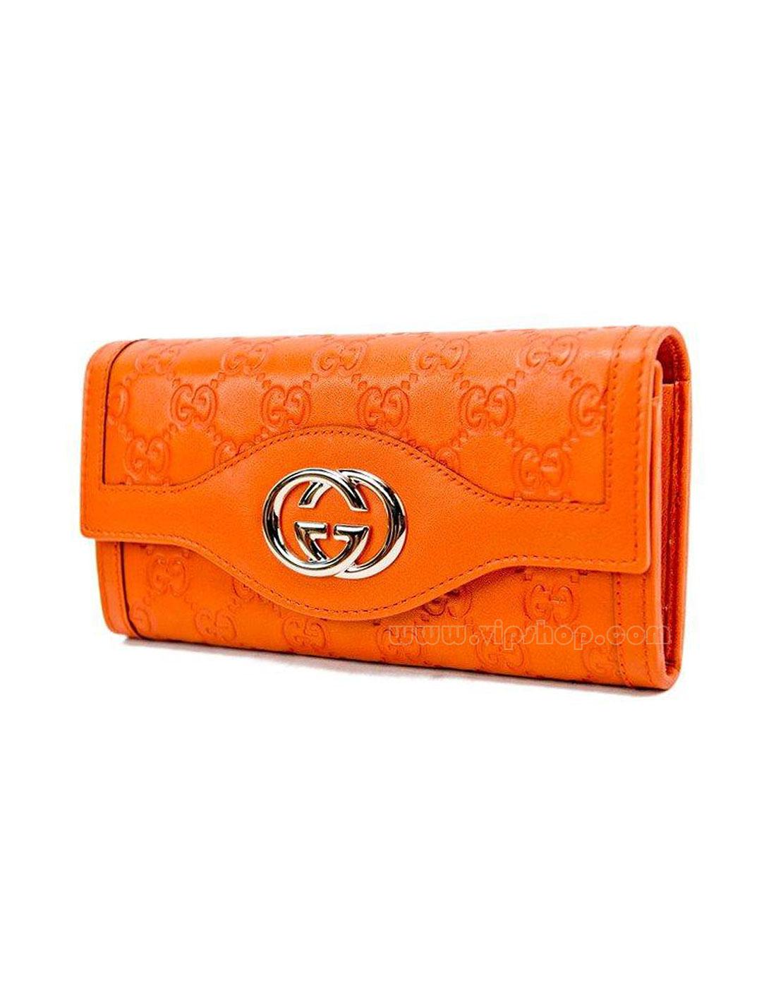 女款精致gg印纹真皮长款钱包橙色