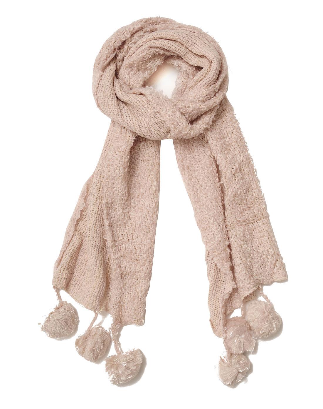 慕黛希尔配件专场女款米色毛毛球围巾047328