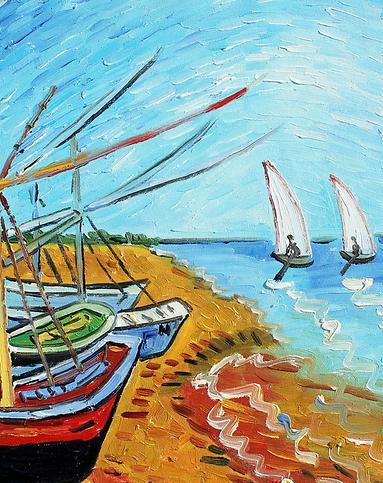 梵高帆船-纯手绘油画(单幅)