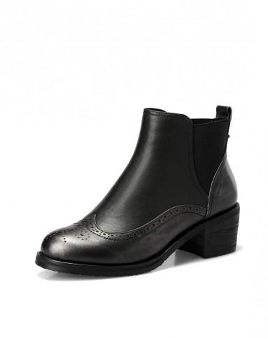 2015新款英伦花纹复古枪色牛皮靴子