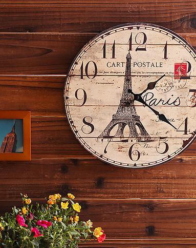 法式复古巴黎铁塔木制时钟图片