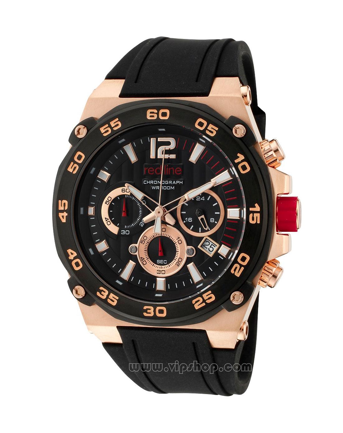 red line 男款质感三眼设计计时刻度表盘圆形手表黑/金色