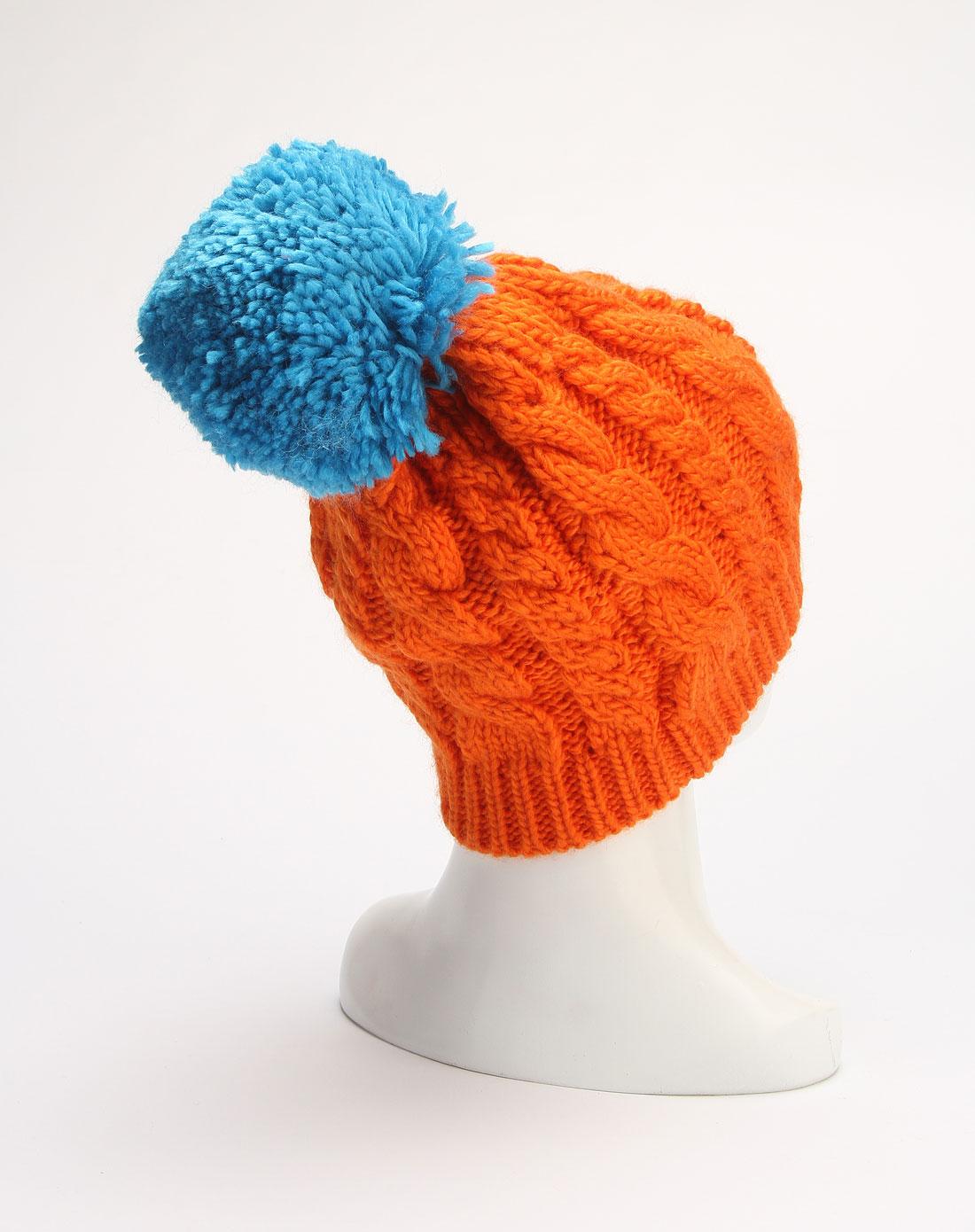 鲜橙色可爱时尚帽子