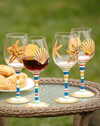 最后约惠-家居杂货专场-手绘玻璃红酒杯四件套