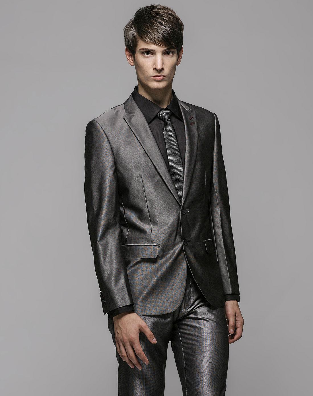 gxg&gxg.1978男装混合专场-灰色时尚细格纹长袖西服
