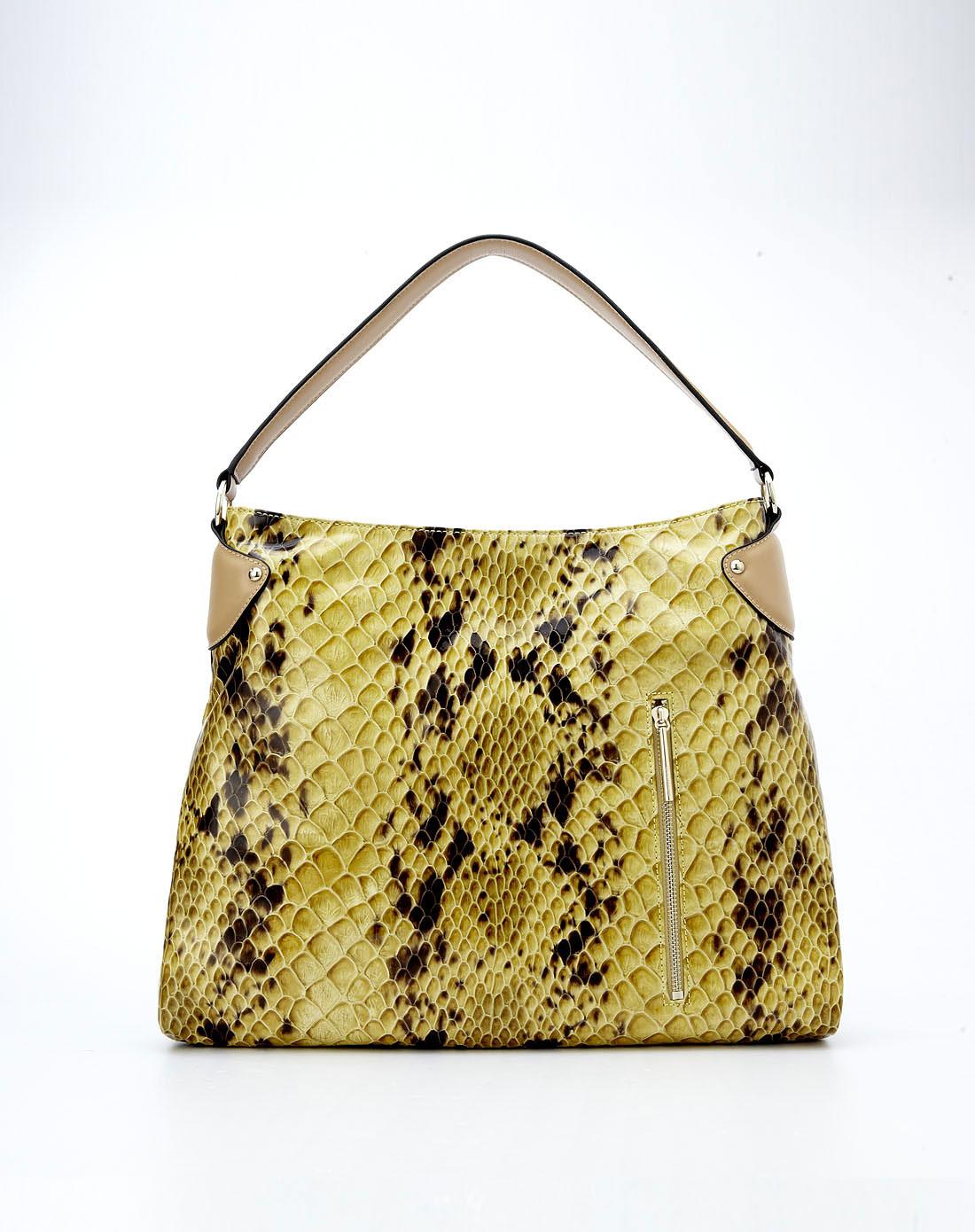 女款黄色蛇纹时尚手提包