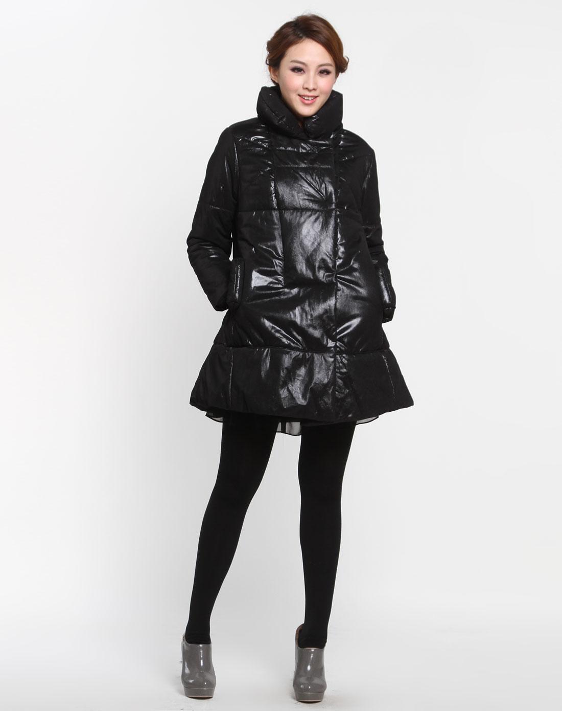 黑色个性时尚长袖棉袄图片
