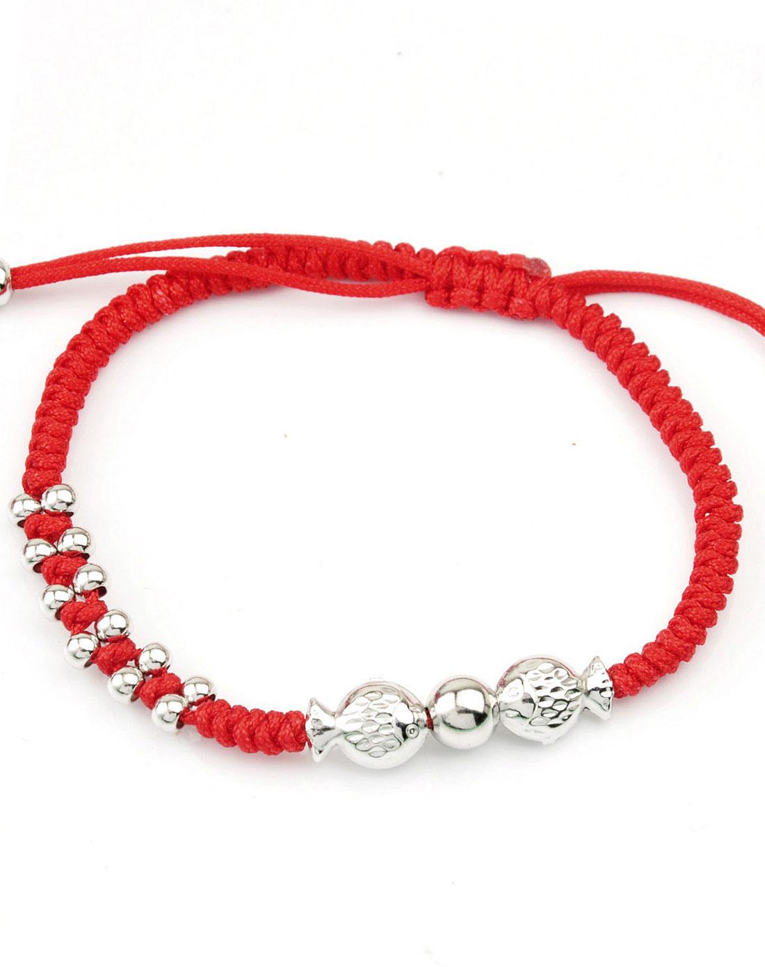 925银纯手工编织红绳辟邪接吻鱼手链