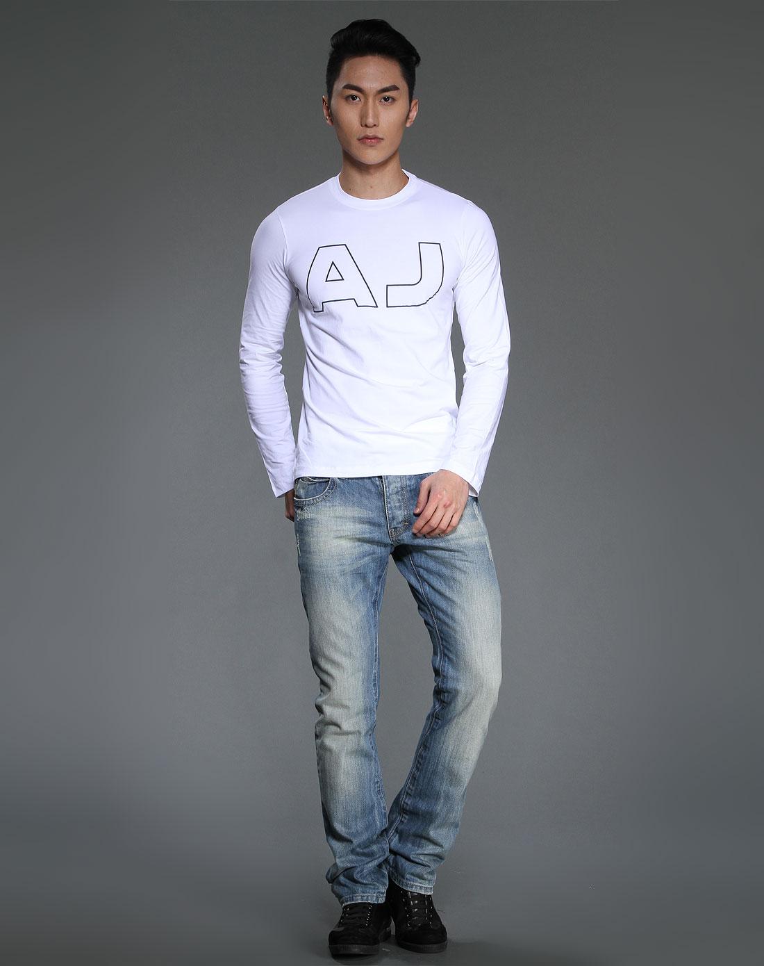 armani aj 男款印大logo长袖t恤白色