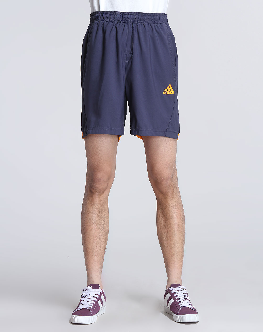 阿迪达斯adidas男装专场-男款深蓝灰色运动短裤