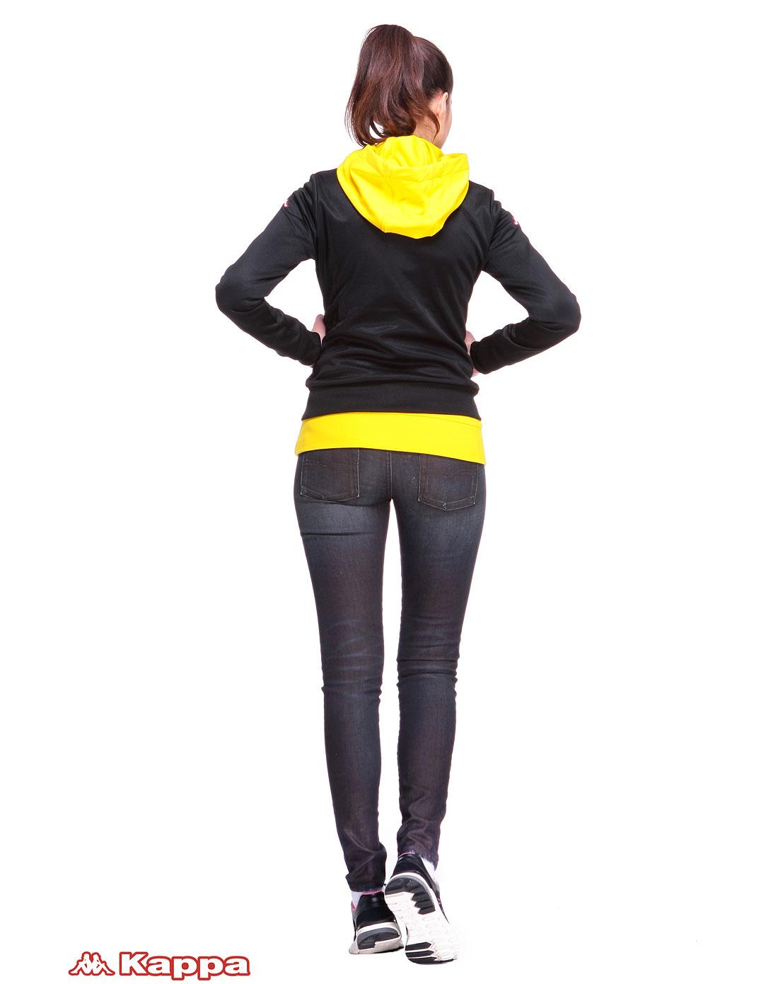 卡帕kappa女装专场-黑色时尚长袖拉链外套