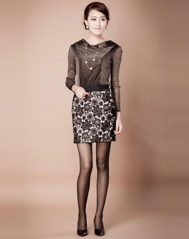 高端系列蕾丝半裙-黑色qa17