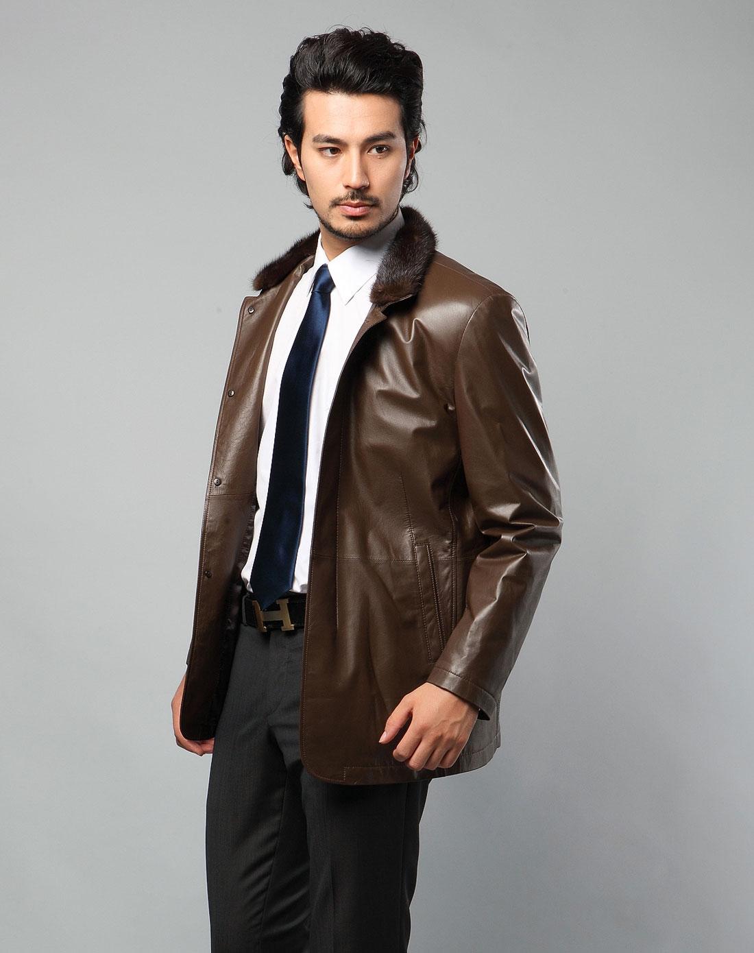 袖皮衣外套棕色