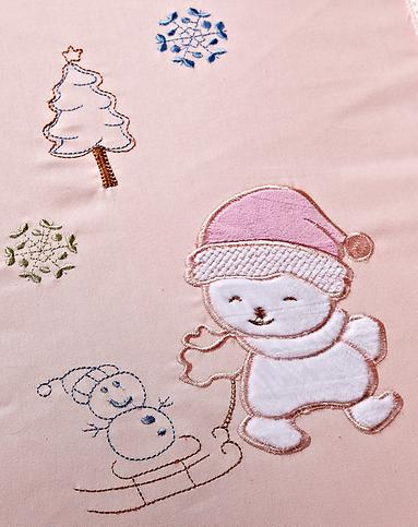 全棉婴幼儿绣花雪人睡袋 花边枕头.粉色
