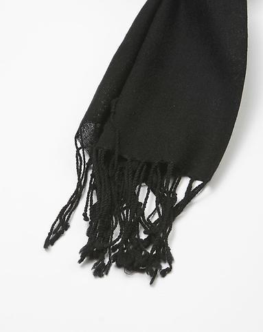 黑色纯色羊毛围巾披肩