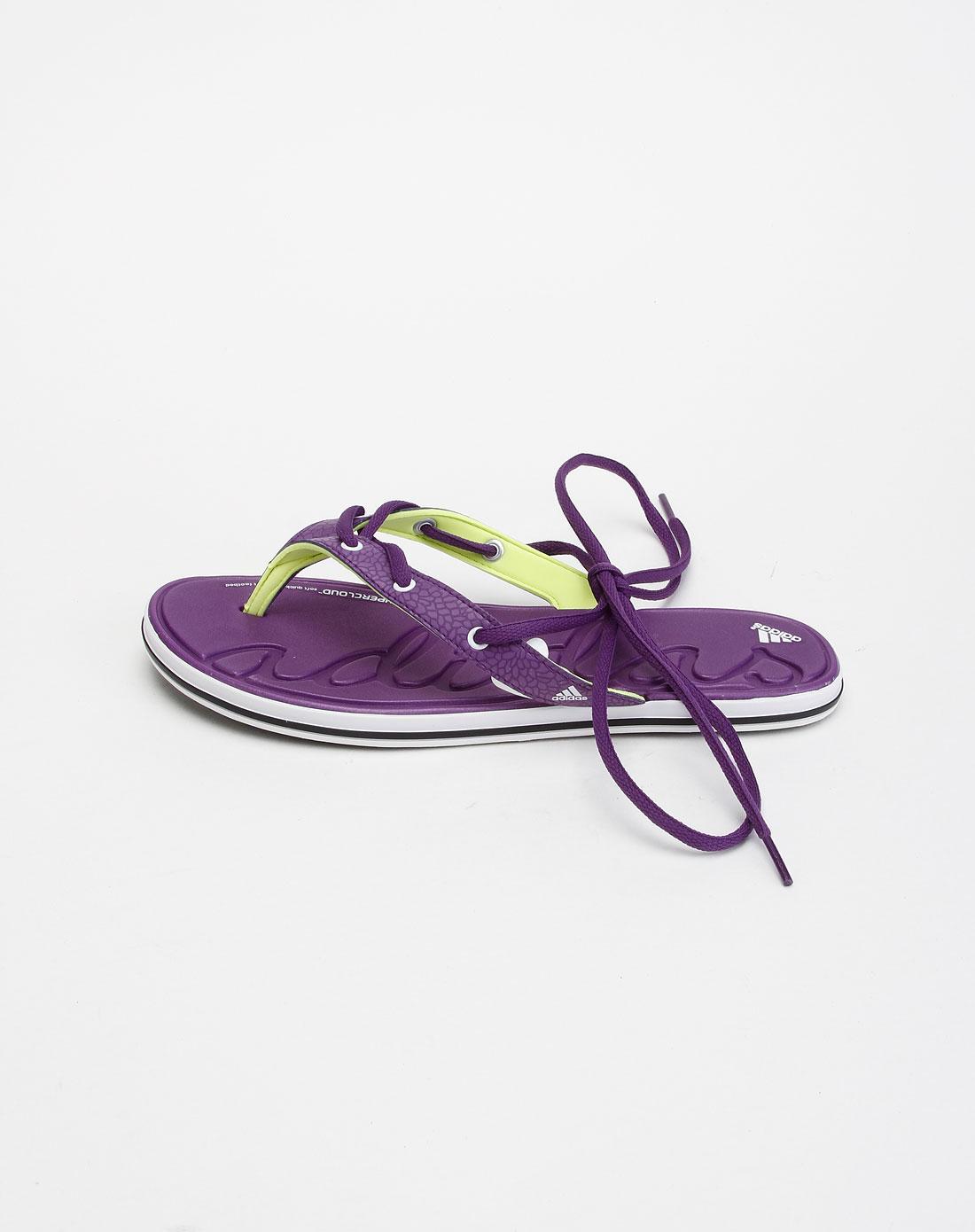 阿迪达斯adidassp 女款白拼能量紫色人字拖凉鞋v2