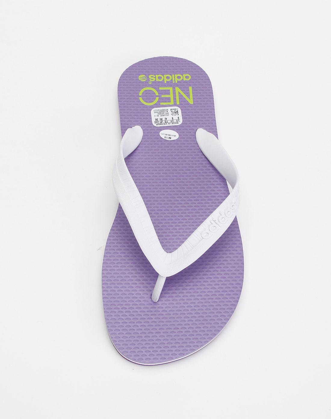 阿迪达斯adidasneo 男款白紫色人字拖鞋g53932