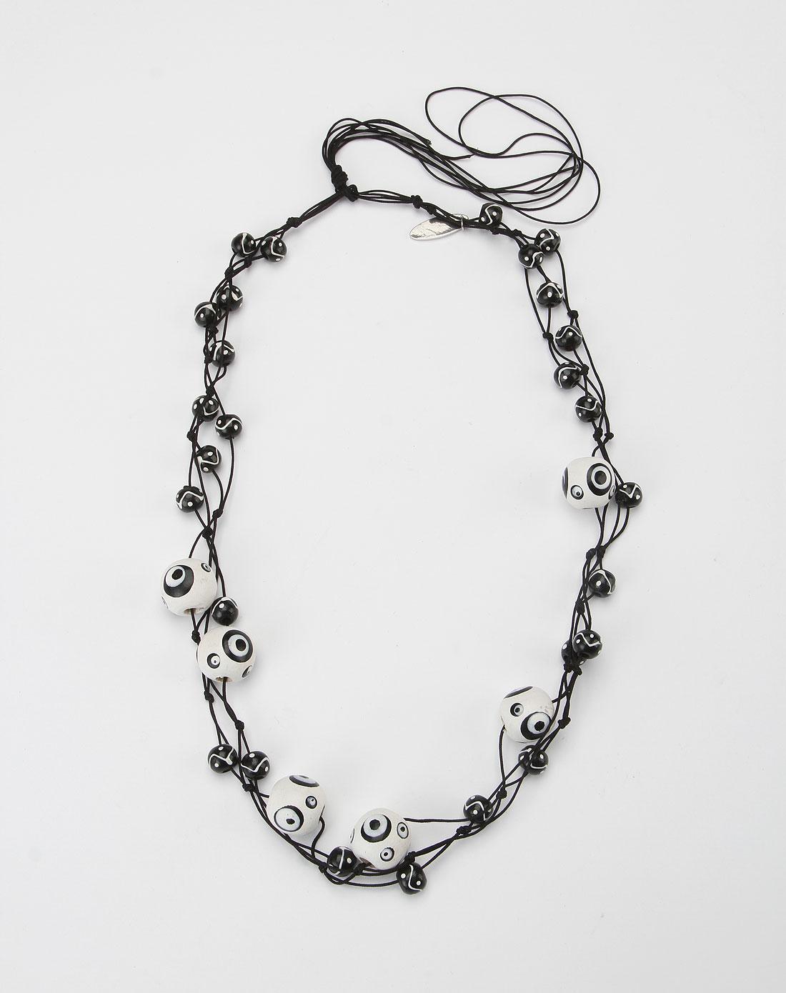 黑白色手绘木珠项链