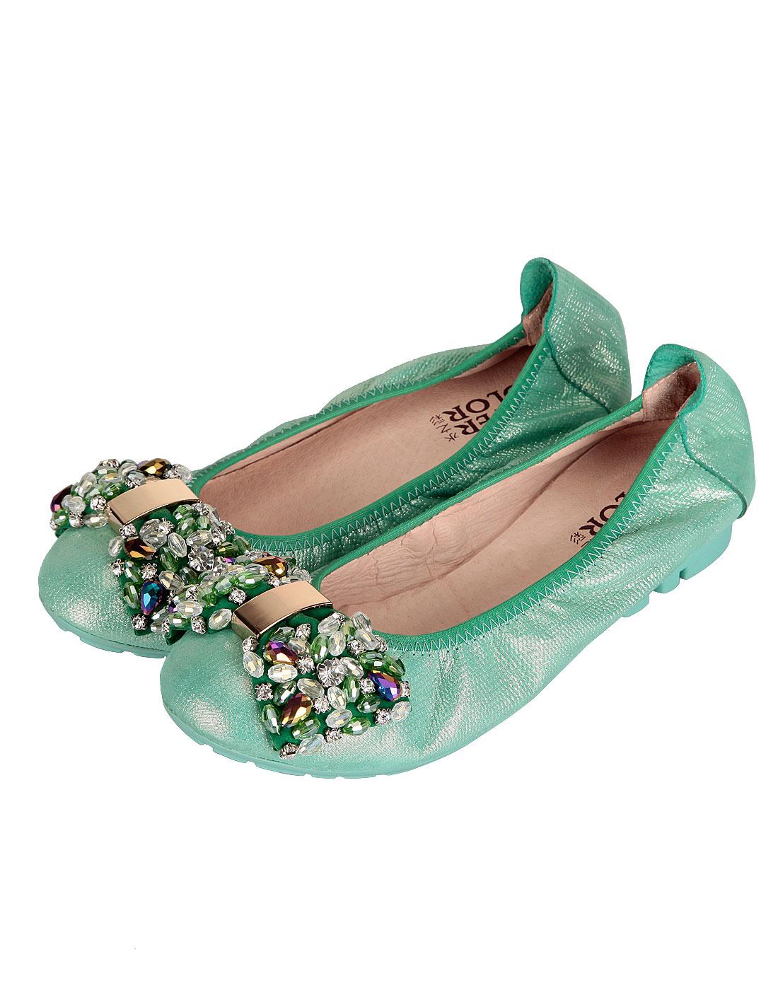 color绿色蝴蝶结水钻舒适平底女鞋ws