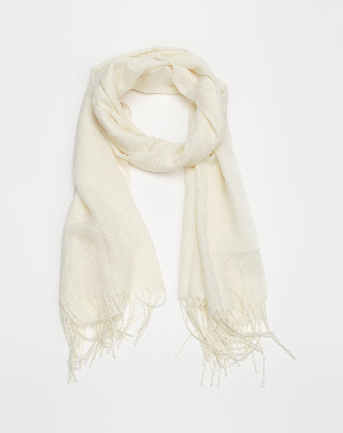 tsk米色素面围巾bw126095