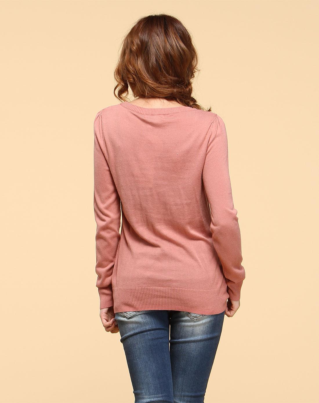 威丝曼wsm肉粉色圆领少女图案长袖针织衫nc010060r20