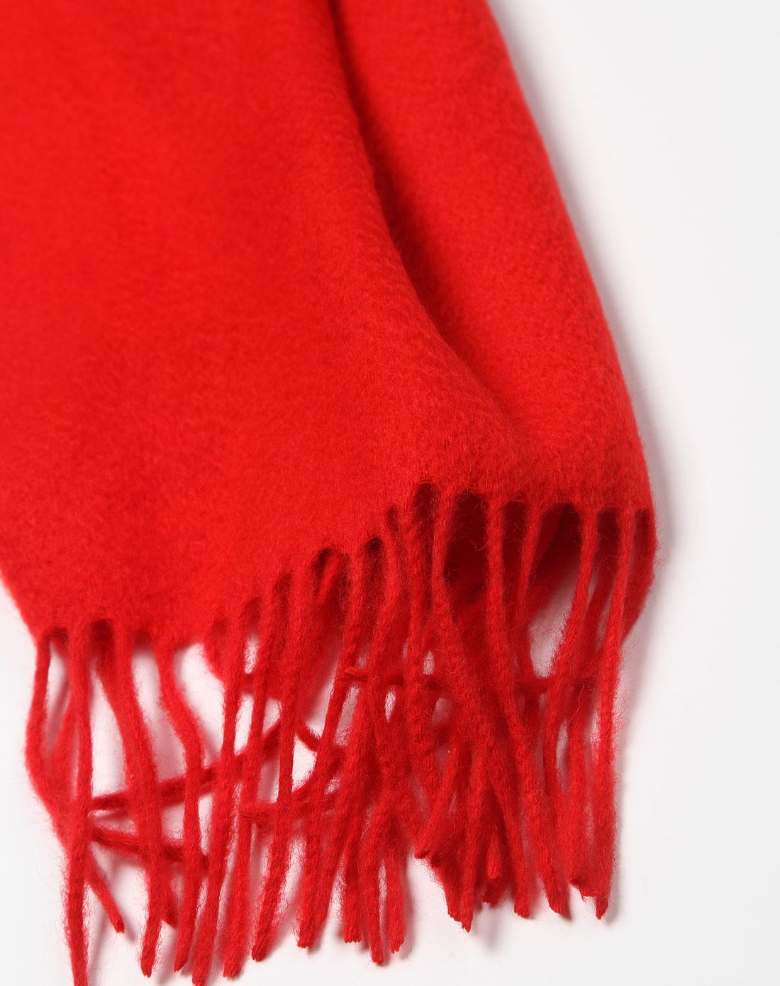 大红色简约纯色羊绒围巾