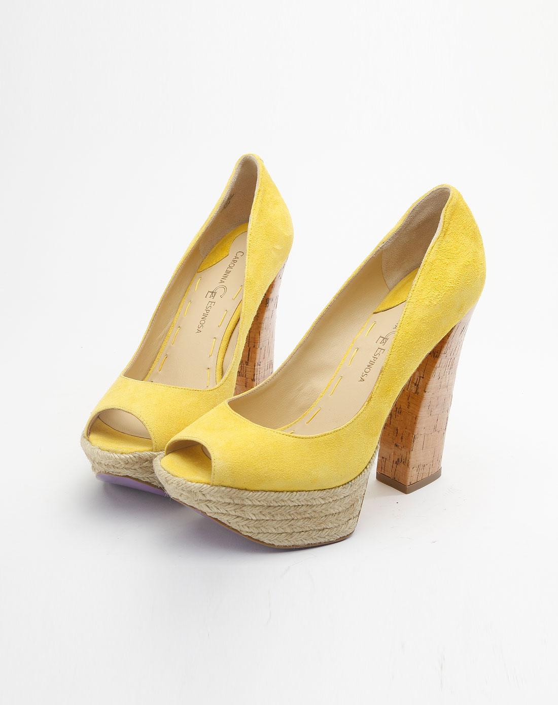 黄色粗跟公主高跟鞋
