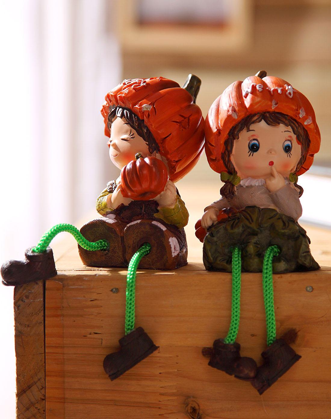 卡通树脂工艺摆件吊脚娃娃-南瓜娃娃