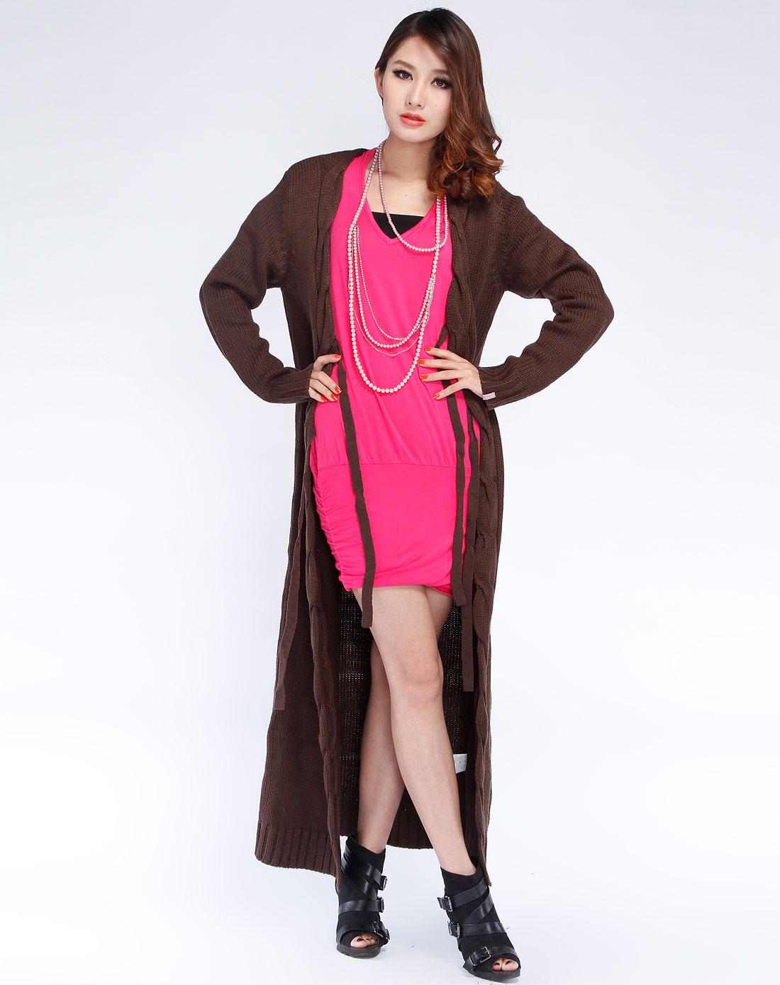 女款咖啡色系带长款长袖毛衣外套