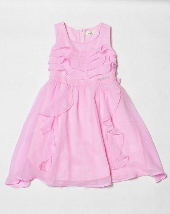童粉红色个性无袖连衣裙