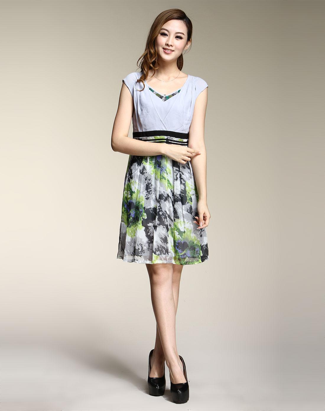 蕾朵liedow绿/灰色花纹优雅无袖连衣裙8560761155
